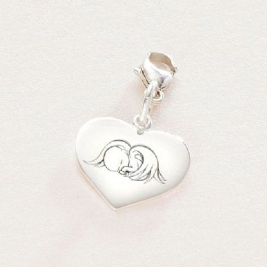 Sterling Silver Heart Charm with Angel Baby Engraving. | Someone Remembered